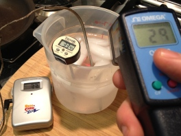 Temperature of Ice water using 3 thermometers